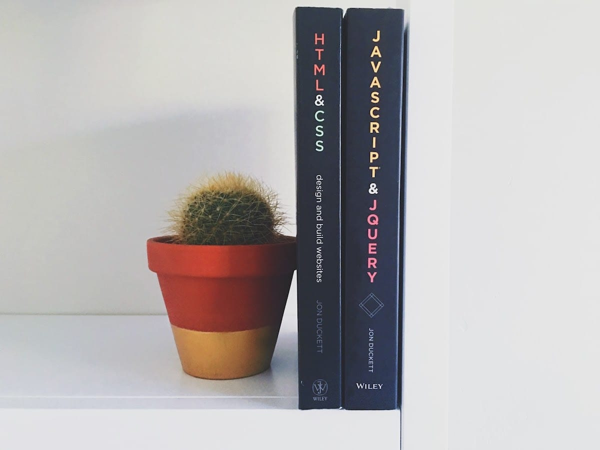 Image of HTML and JavaScript books next to cactus.
