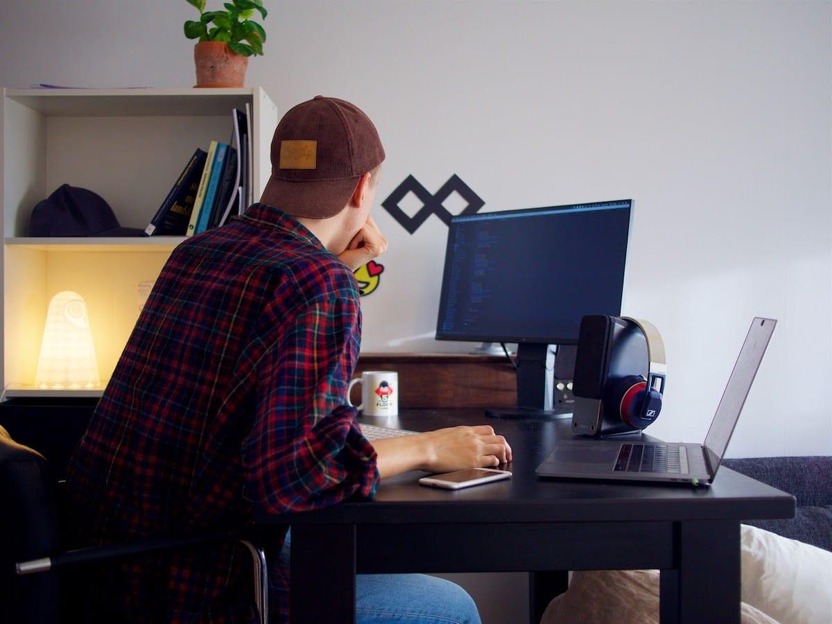 Man in front of desktop