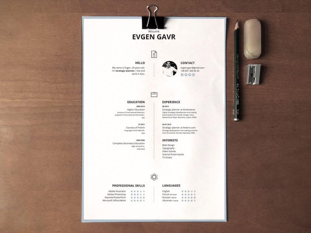 Free resume template from Zohn Habib.