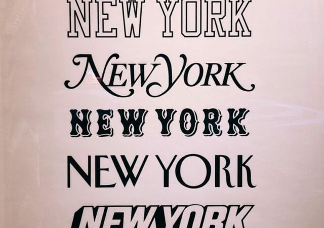 'New York' illustrated in different fonts.