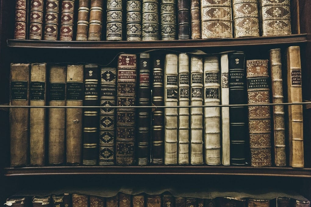 A collection of old books.