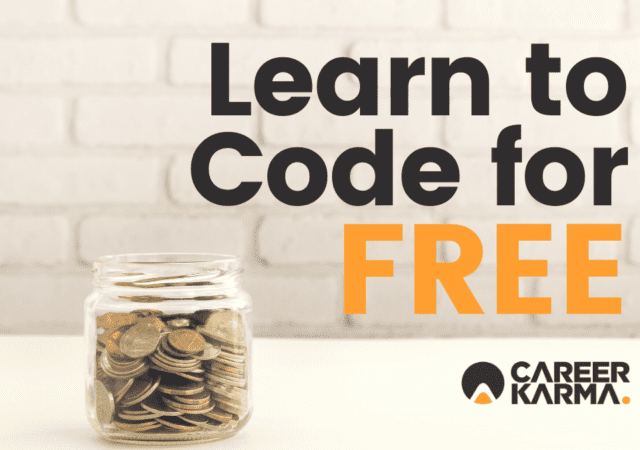 Learn to Code for Free (with money jar on table)