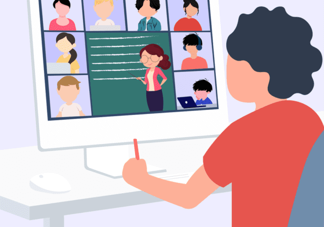 Online e-learning illustration