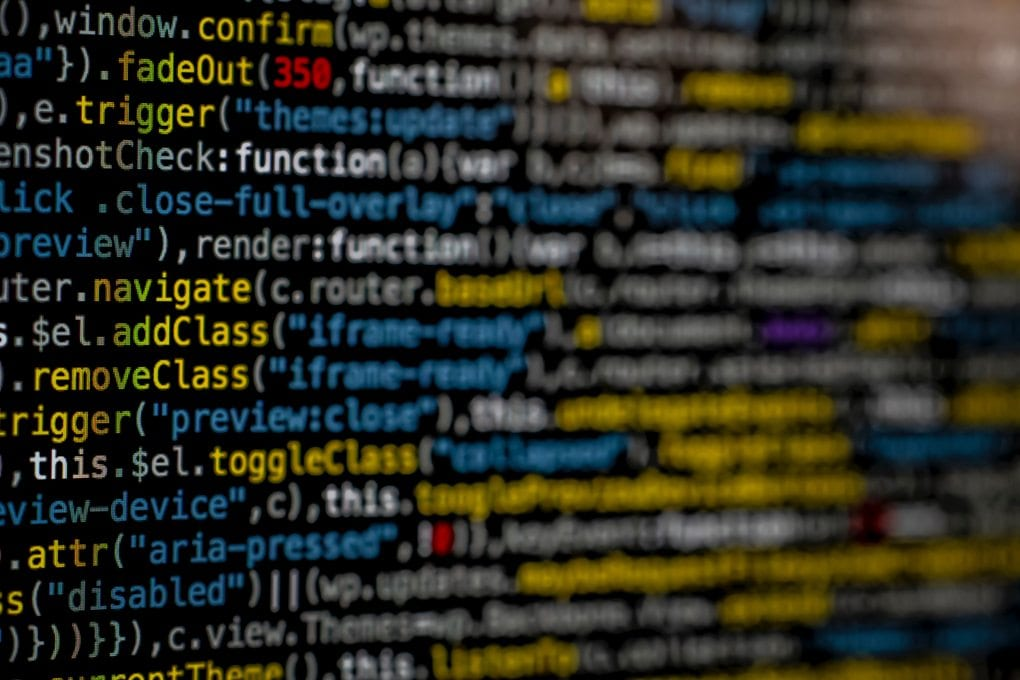 Close-up of code, like the kind a cybersecurity specialist might write