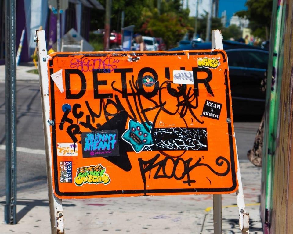Detour Sign with Graffiti
