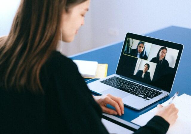 a team having a virtual meeting