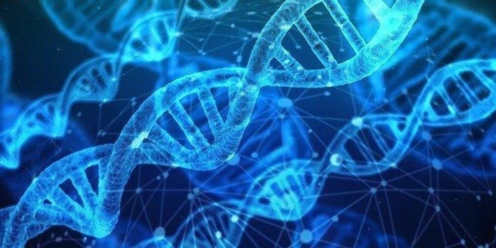 DNA Helix, Light blue DNA strands on a dark blue background.