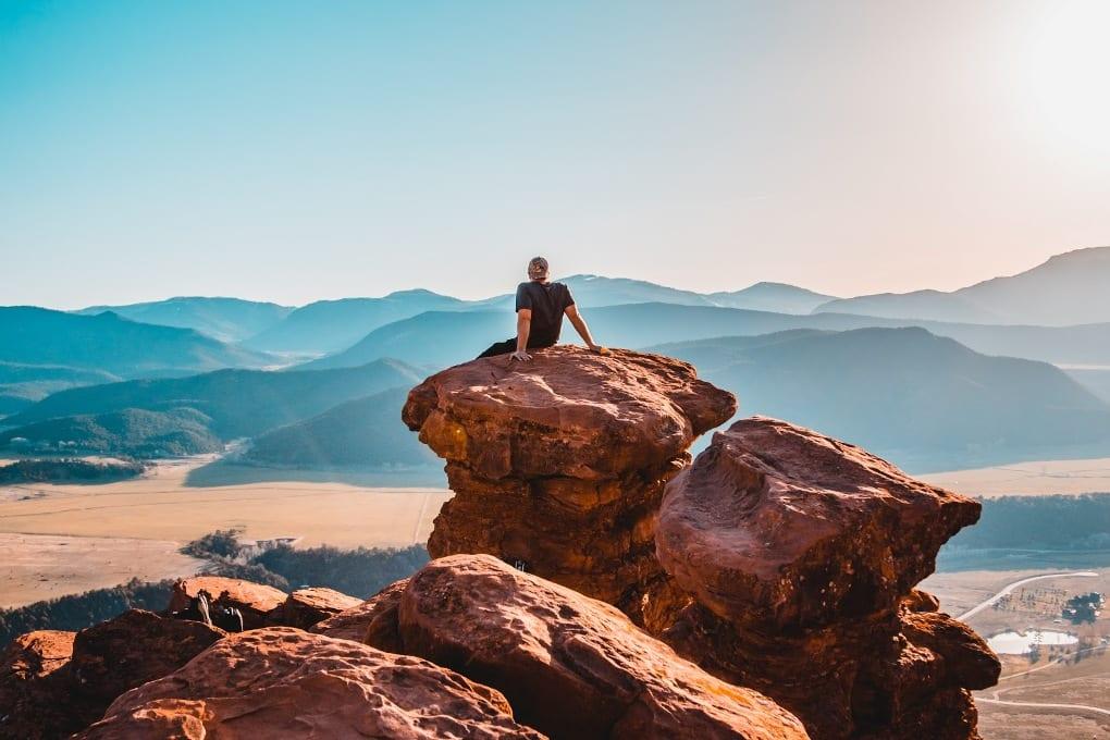Man on a rock.